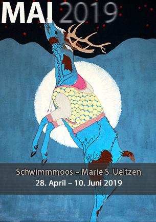 Marie S. Ueltzen  SCHWIMMMOOS  Schaubilder kreatürlicher Abgründe. Mischtechniken aus Stickerei und Malerei.