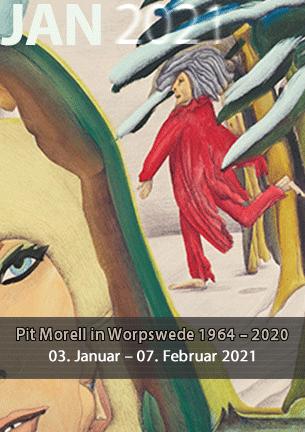 """Die Ausstellung kann voraussichtlich nach der Aufhebung des Lockdowns und öffentlicher Bekanntgabe besucht werden.  Die geplanten Veranstaltungen, das Künstlergespräch mit Pit Morell und Albert Schindehütte sowie die Buchvorstellung """"The book of Humi, Leben und Werk des Zeichners und Poeten Pit Morell"""" mit Dr. Bernd Küster werden über die aktuelle Presse bekanntgegeben."""